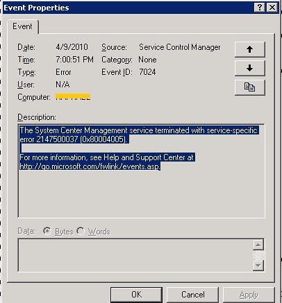 System Center Management Service Not Starting