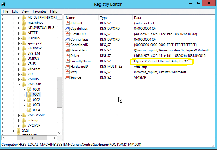 Removing the ghost Hyper-V vNic adapter when using Converged